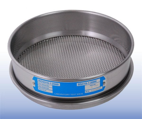 VJT-200W-xx.xxMM - Stainless Steel Mesh Sieve (200 mm Diameter - selected mm apertures)