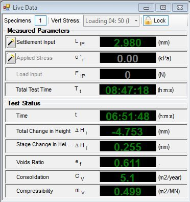 Example Live Oedometer Test Data View